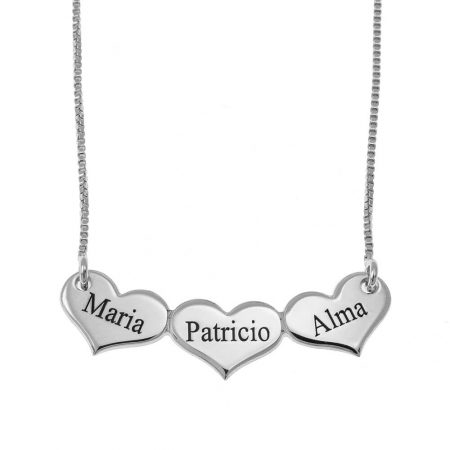 Engraved Horizontal Hearts Necklace