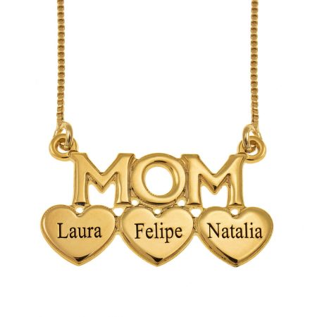 Mum Engraved Necklace with Hearts