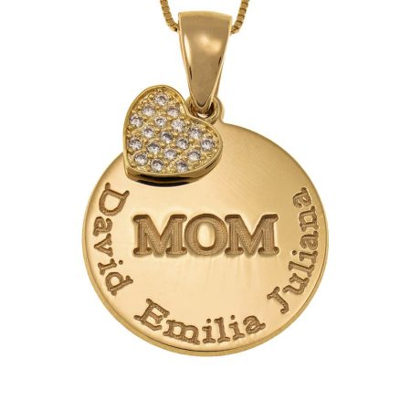 Engraved Mum Disc Necklace with Inlay Heart
