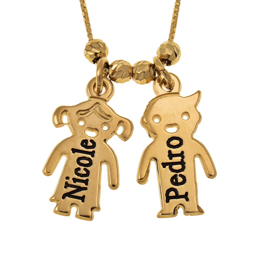 Engraved Children Necklace gold