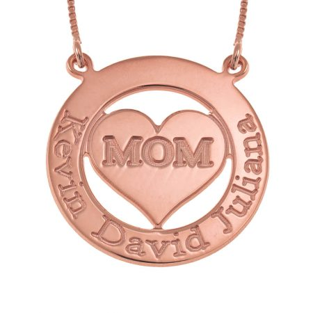 Engraved Circle Mum Necklace with Heart