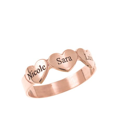 Engraved Hearts & Names Ring