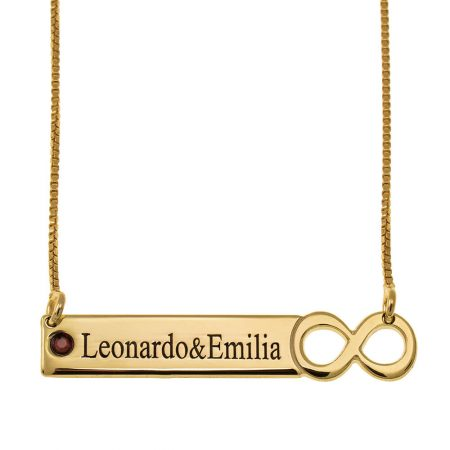 Infinity Bar Necklace with Engraving and Birthstone
