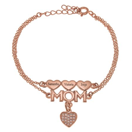 Mum Double Chain Bracelet with Hearts and Inlay Heart