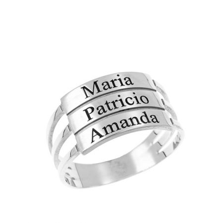 Three Stackable Name Ring