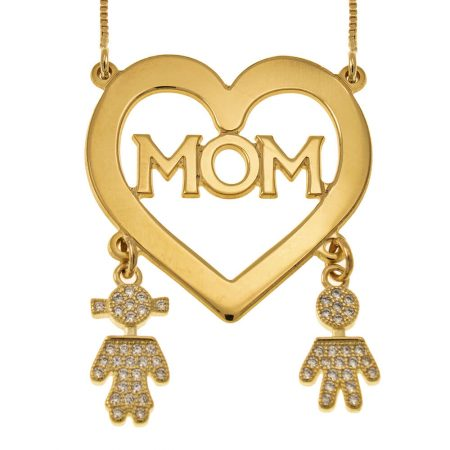 Mum Heart Necklace With Inlay Kids