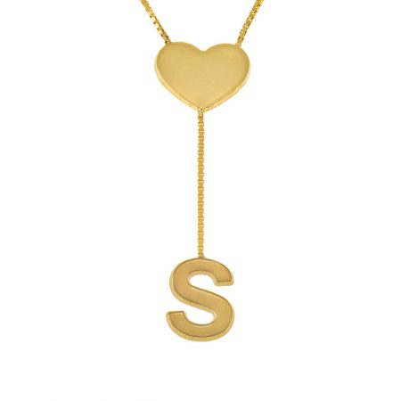 Falling Letter Necklace with Dainty Heart
