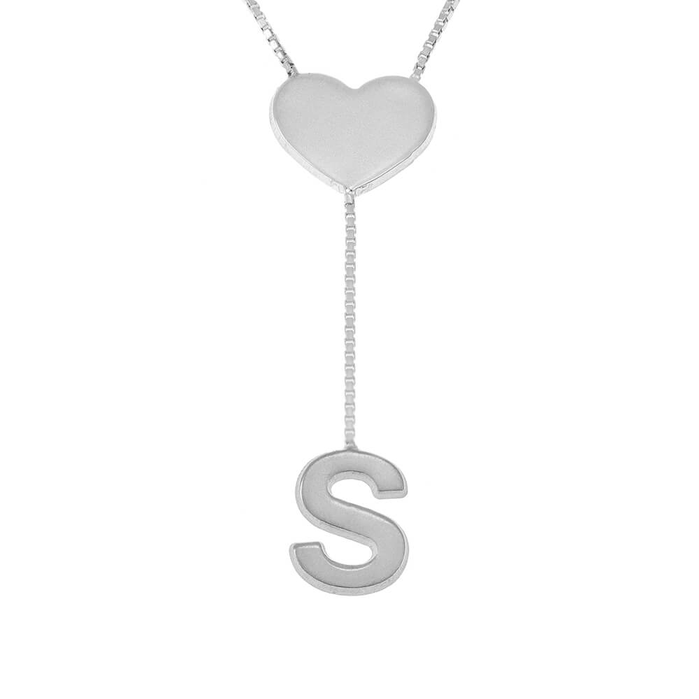 Falling Letter Necklace with dainty Heart silver