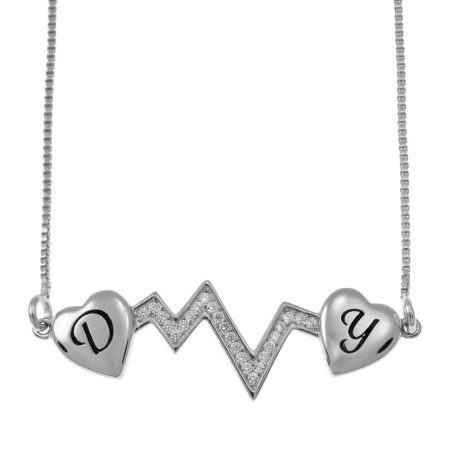 Heartbeat Two Initial Necklace