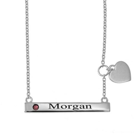 Horizontal Bar Name Necklace With Heart