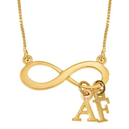 Infinity Necklace With Dangling Initials