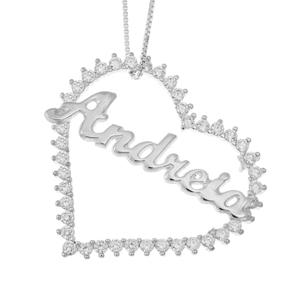 Inlay Big Heart Name Necklace silver