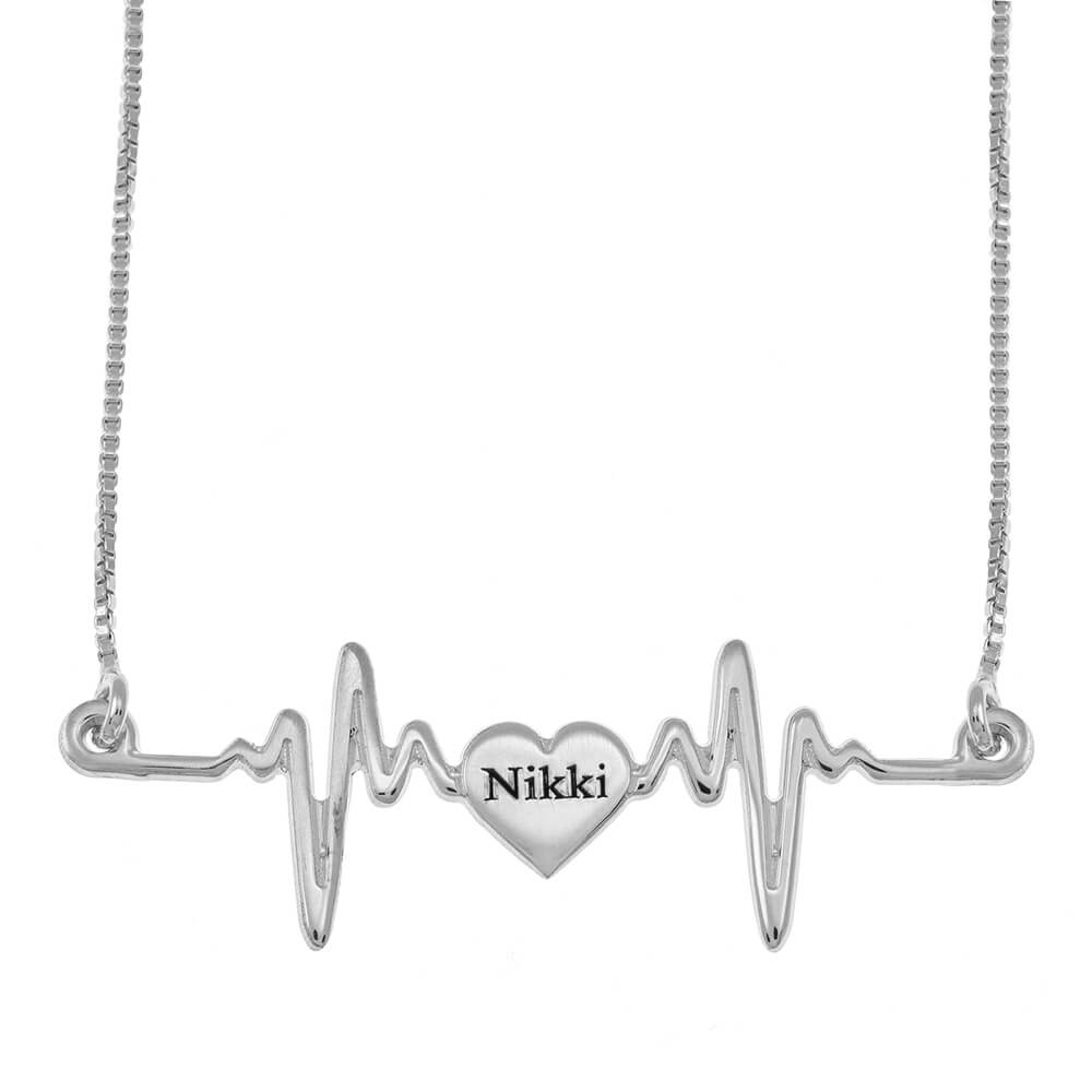 My Heartbeat Name Necklace silver