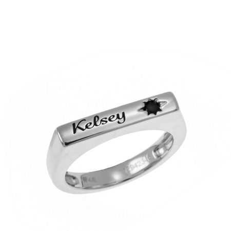 Stackable Bar Name Ring With Black Stone
