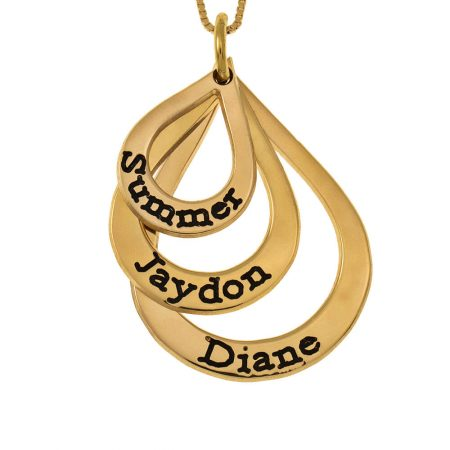 Teardrops Mother Name Necklace