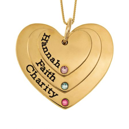 Three Shades Engraved Hearts Mother Necklace With Birthstones
