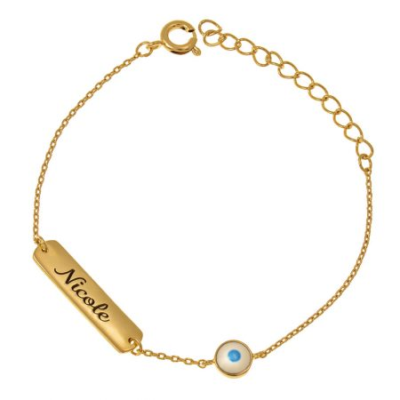 Women's Nameplate Bracelet with Evil Eye