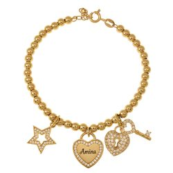 Bead Name Bracelet with Charms gold