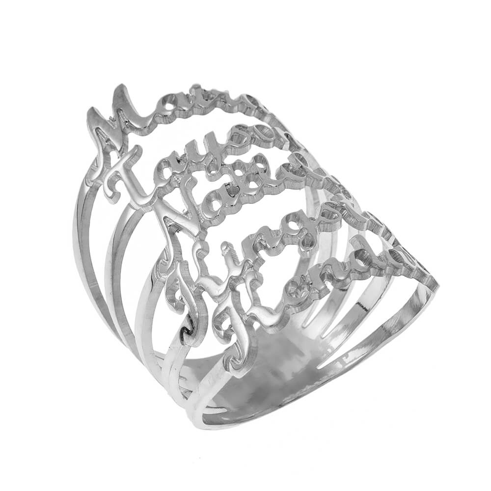 Cut Out Names 5 Ring silver