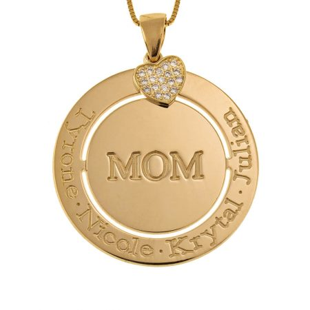 Engraved Circle Mum Necklace with Inlay Heart
