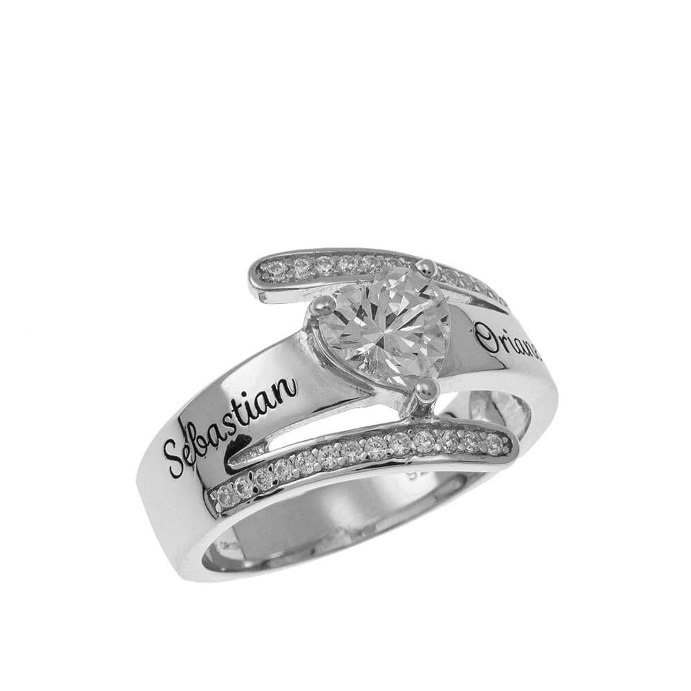 Inlay Two Names Ring silver