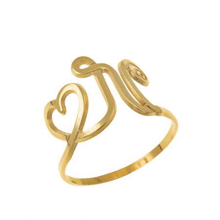 Interlocking Heart and Initial Ring