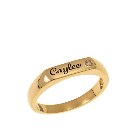 Stackable Inlay Name Ring