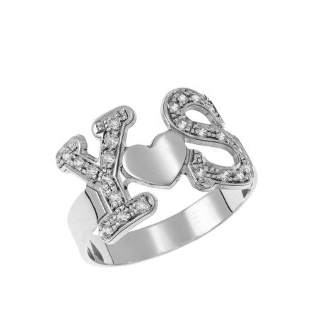 Two Initials Heart Ring