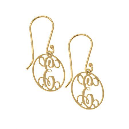 Circle Dangle Monogrammed Earrings