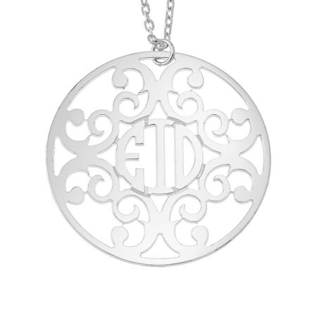 Circle Decorated Monogram Necklace