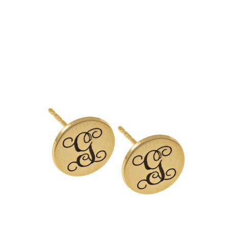 Circle Monogram Stud Earrings