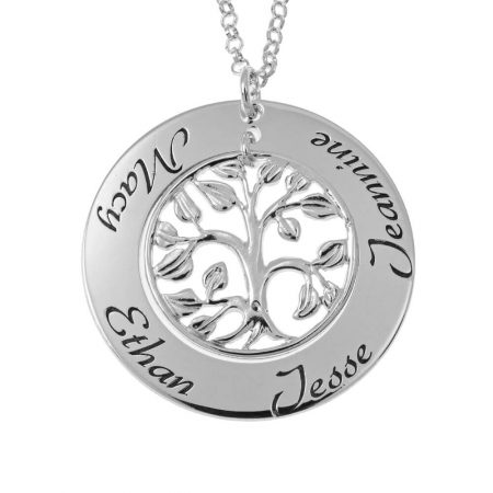 Cut Out Family Tree Names Necklace
