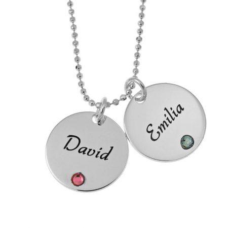 Elegant Two Discs with Birthstones Necklace