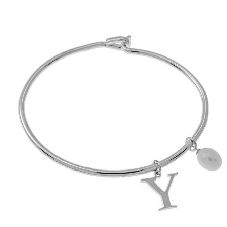Initial Bangle with Pearl
