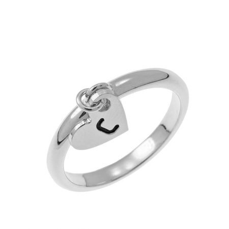 Initial Heart Charm Ring