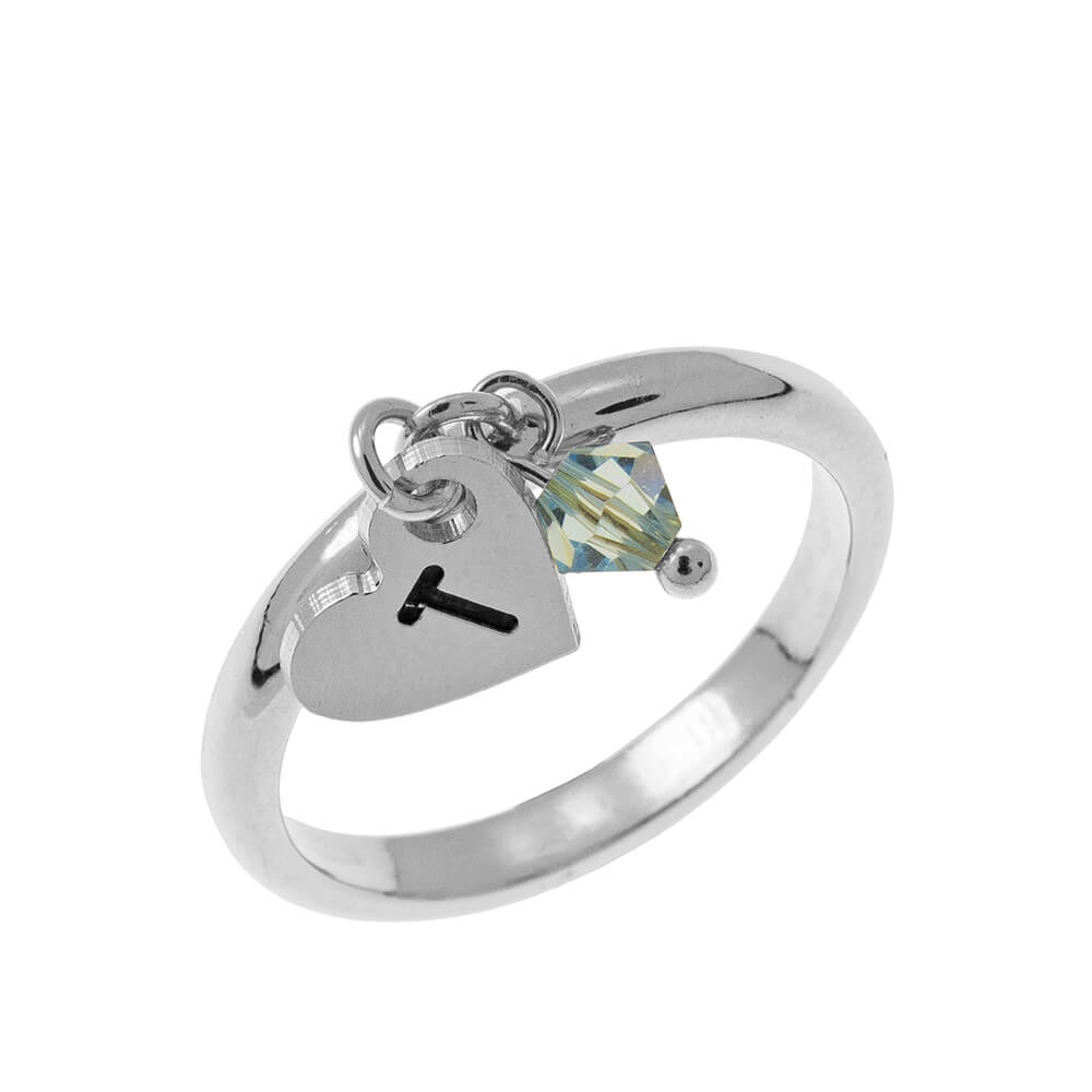 Initial Heart Charm Ring with Birthstone silver