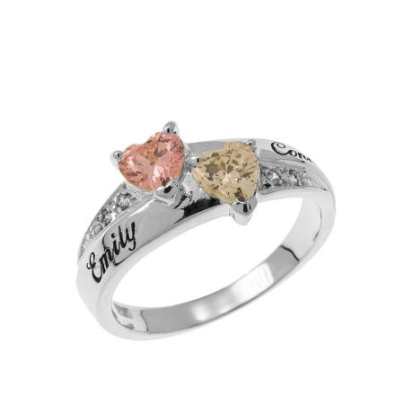 Inlay Double Heart Birthstone Ring
