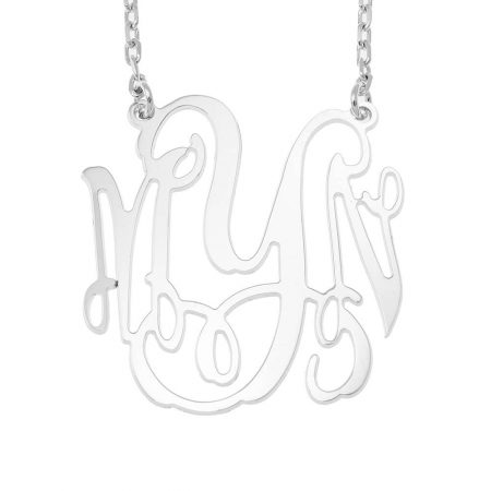 Large Four Initials Monogram Necklace