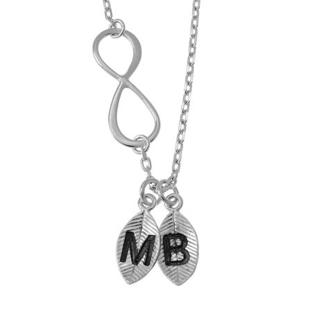 Lovers Infinity Necklace with Leaves