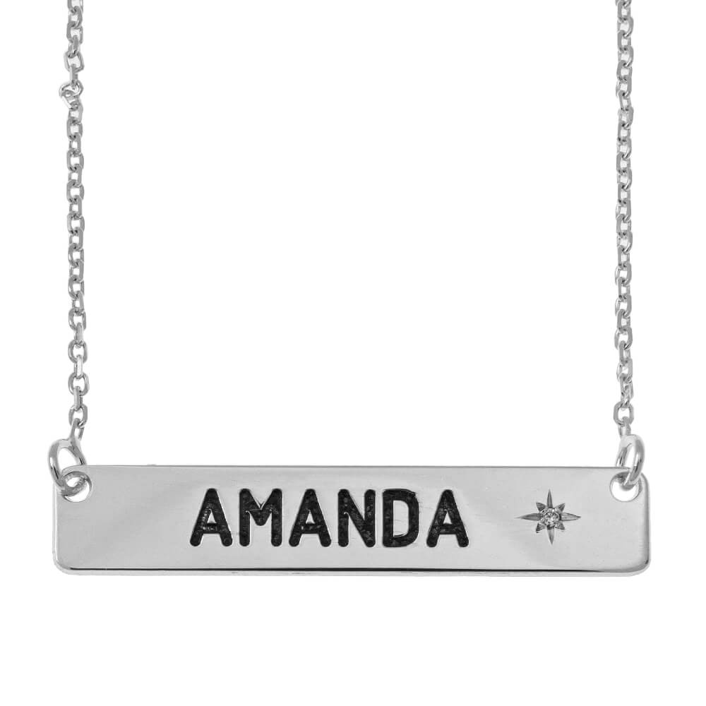 Personalised Bar Necklace with Birthstone silver