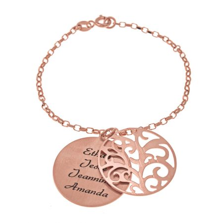 Personalised Double Layer Family Tree Bracelet