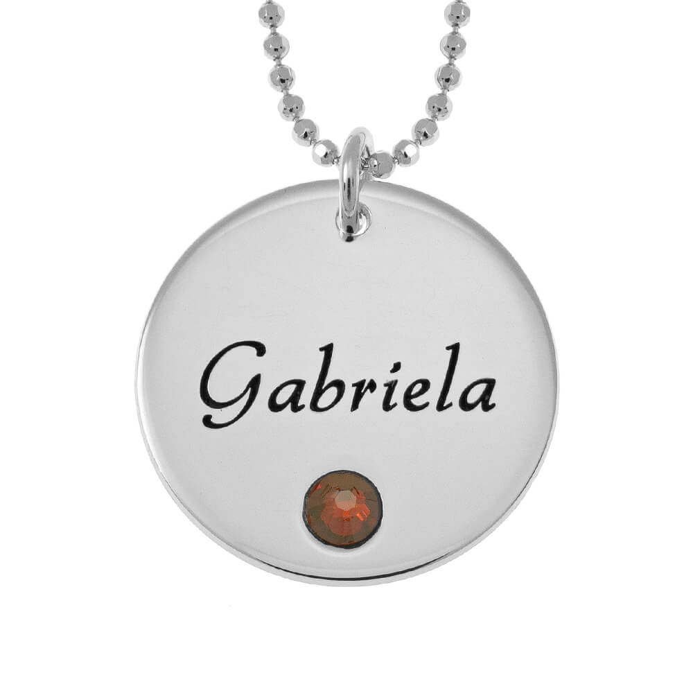 Vintage Disc with Birthstone Necklace silver
