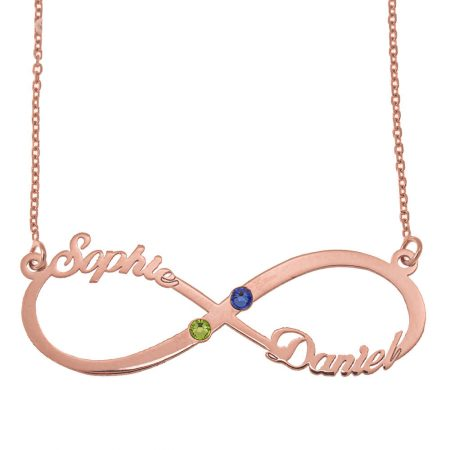 Infinity Cut Out Name Necklace with Birthstones