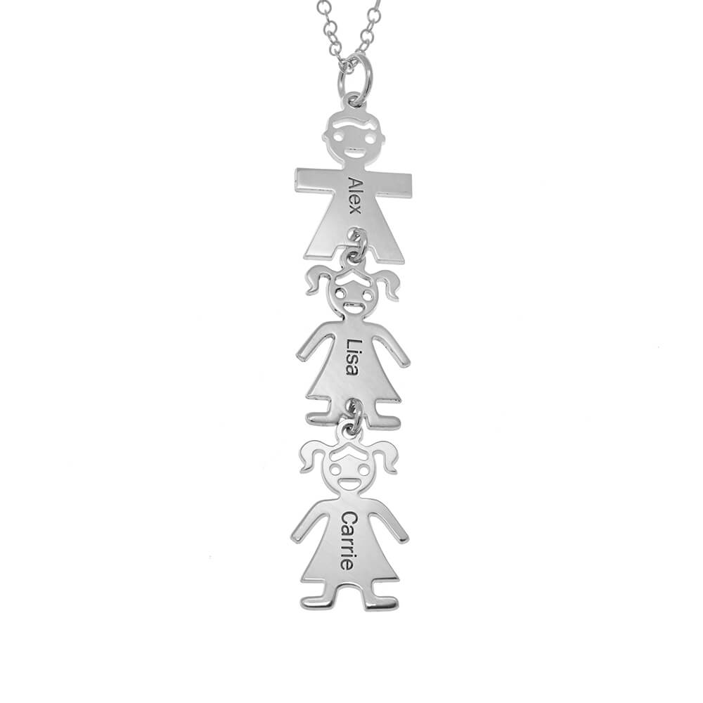 Vertical Mother's Necklace with Kids silver