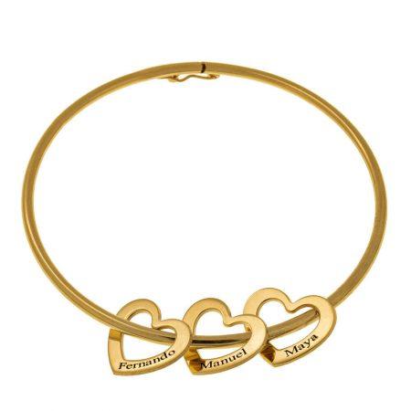 Bangle Bracelet with Heart Charms