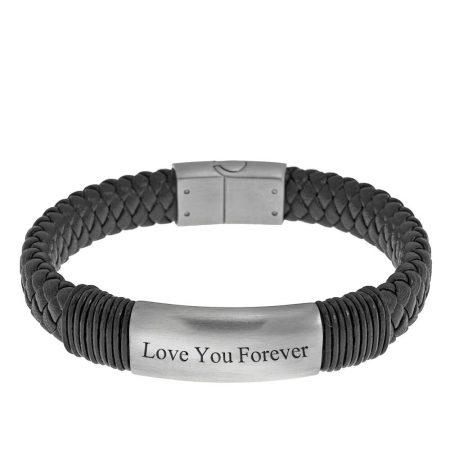 Engraved Black Leather Name Bracelet for Men