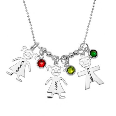 Mother's Necklace with Children Charms and Birthstones