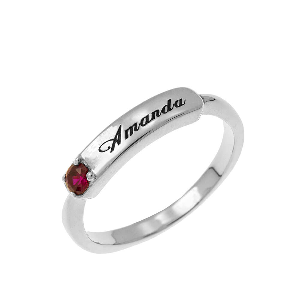 Small Nameplate Ring With Birthstone silver