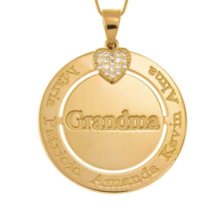 Engraved Circle Grandma Necklace with Inlay Heart