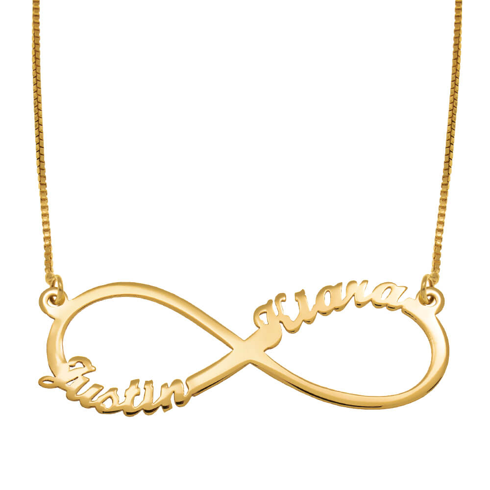 Infinity 2 Names Necklace gold